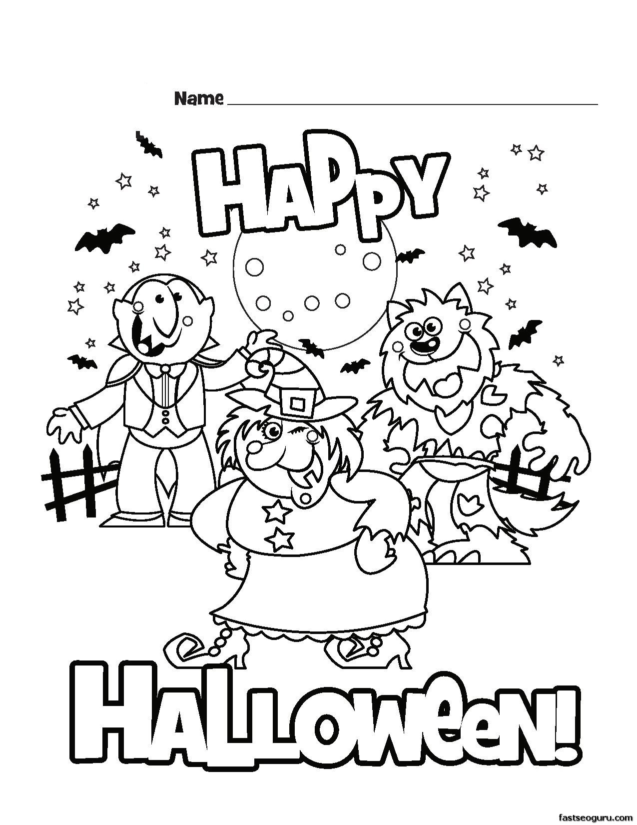 1275x1650 Printable Happy Halloween Coloring Pages On Printable Disney