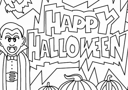 497x348 Happy Halloween Printable Coloring Pages Halloween Coloring Page