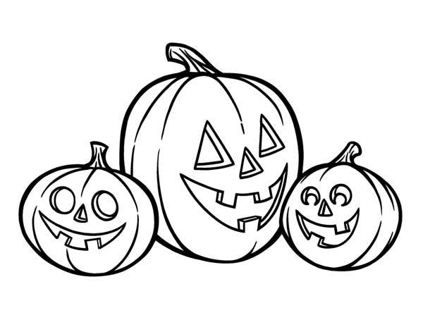 600x464 Hallowen, Three Happy Jack O Lantern Coloring Page Halloween