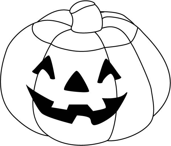 600x512 Happy Halloween Pumpkins Coloring Page