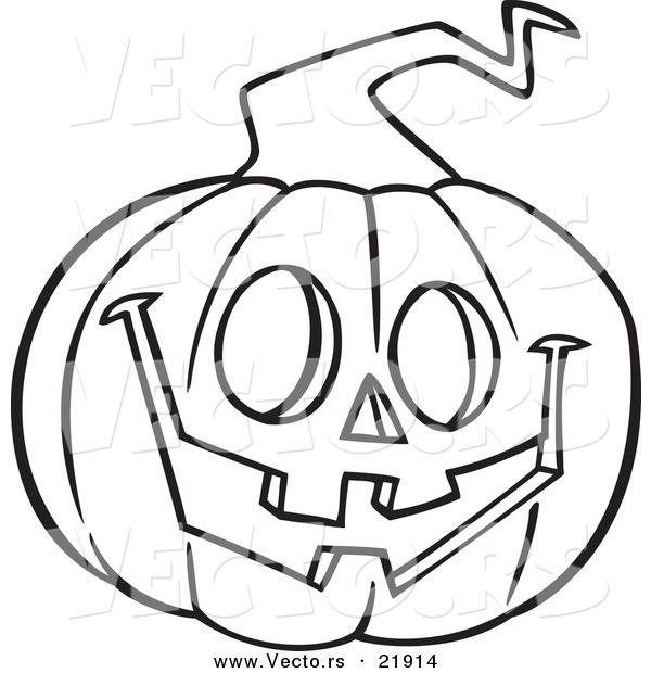 600x620 Vector Of A Cartoon Happy Jackolantern