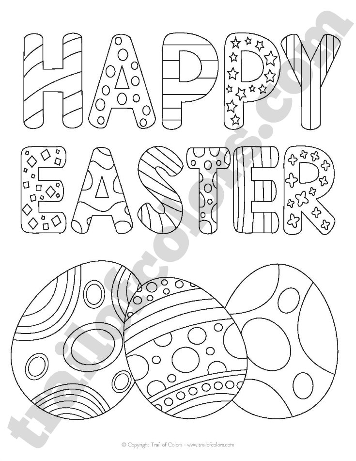 735x951 Happy Easter Coloring Page For Kids