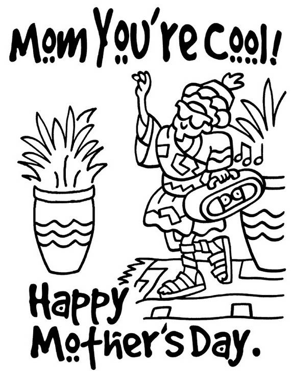 570x734 Happy Mothers Day Coloring Pages For Kids