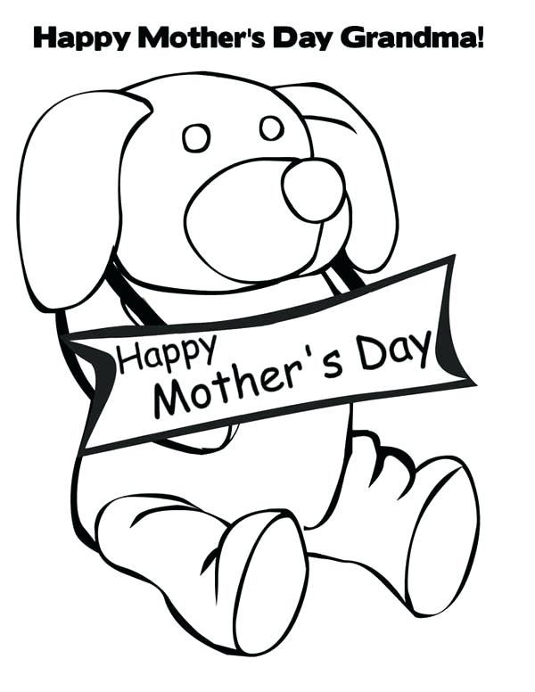 600x776 Mothers Day Coloring Pages For Grandma Little Puppy Happy Mothers