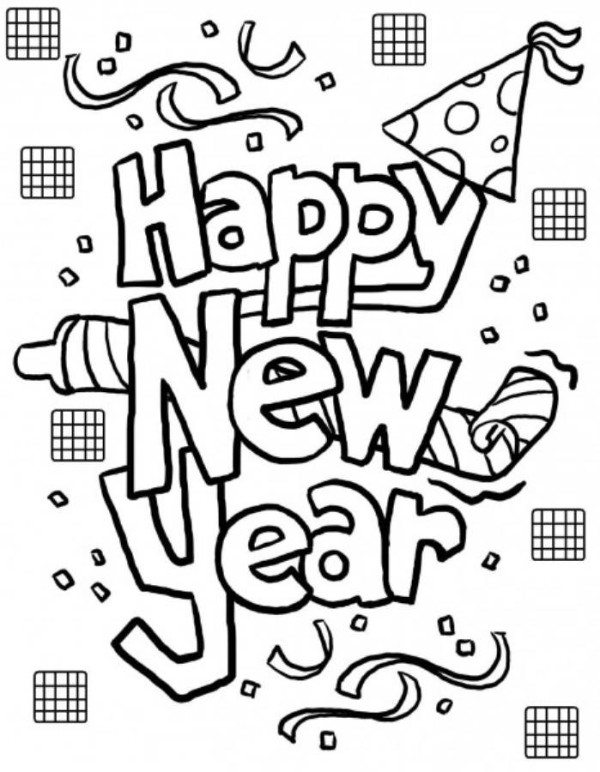 600x772 Happy New Year Coloring Page Printable