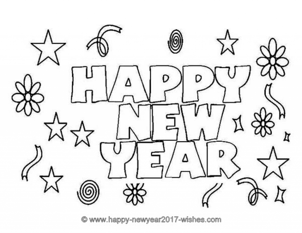 1024x788 Happy New Year Coloring Pages Printable Merry Christmas Happy