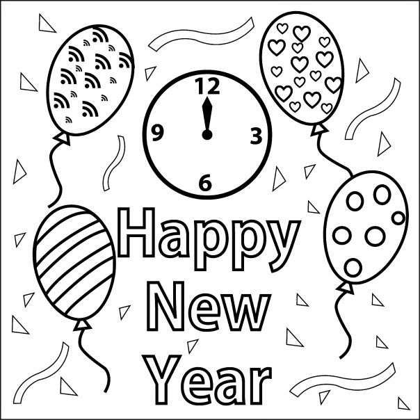 604x604 Happy New Year Coloring Book