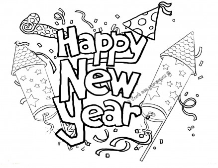 438x338 Printable Happy New Year Fireworks Coloring Pages