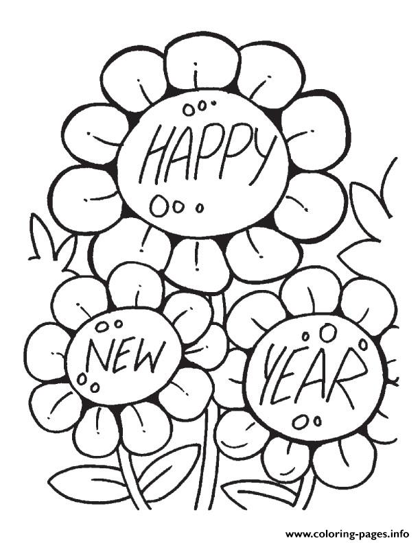 612x792 Flower Wishing Happy New Year Printable Coloring Pages Printable