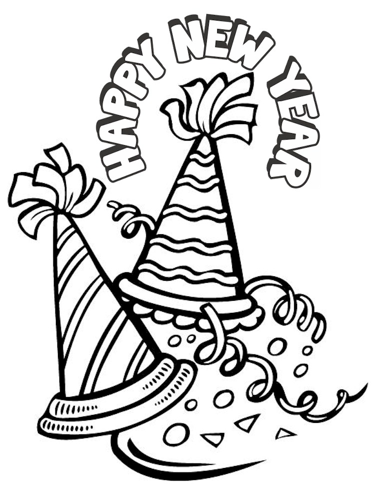751x987 Happy New Year Hat Coloring Pages