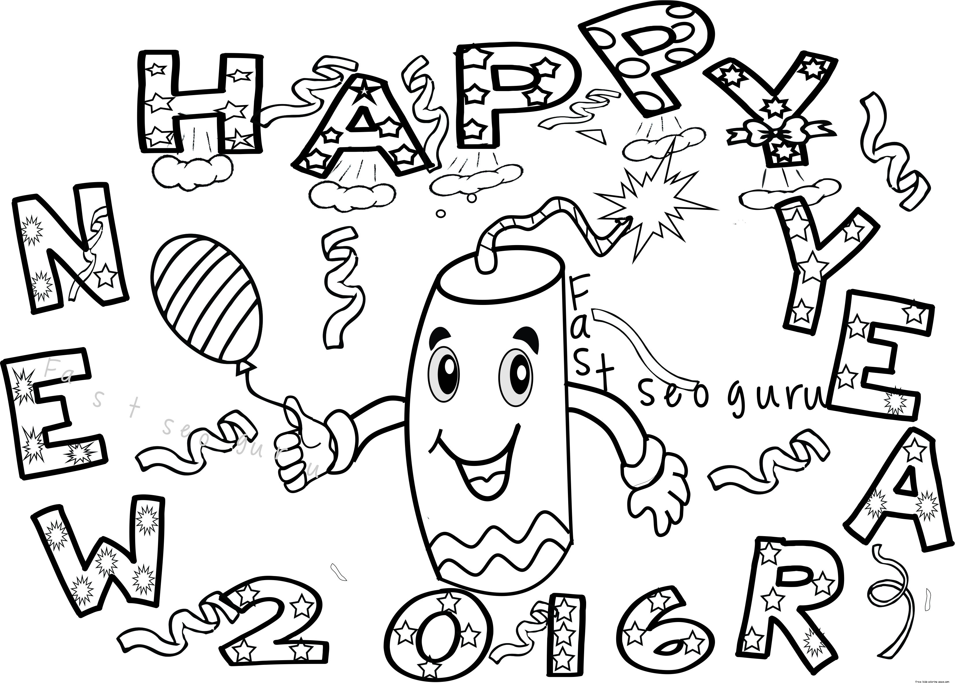 3306x2363 Tested Happy New Year Coloring Sheets Years Pi
