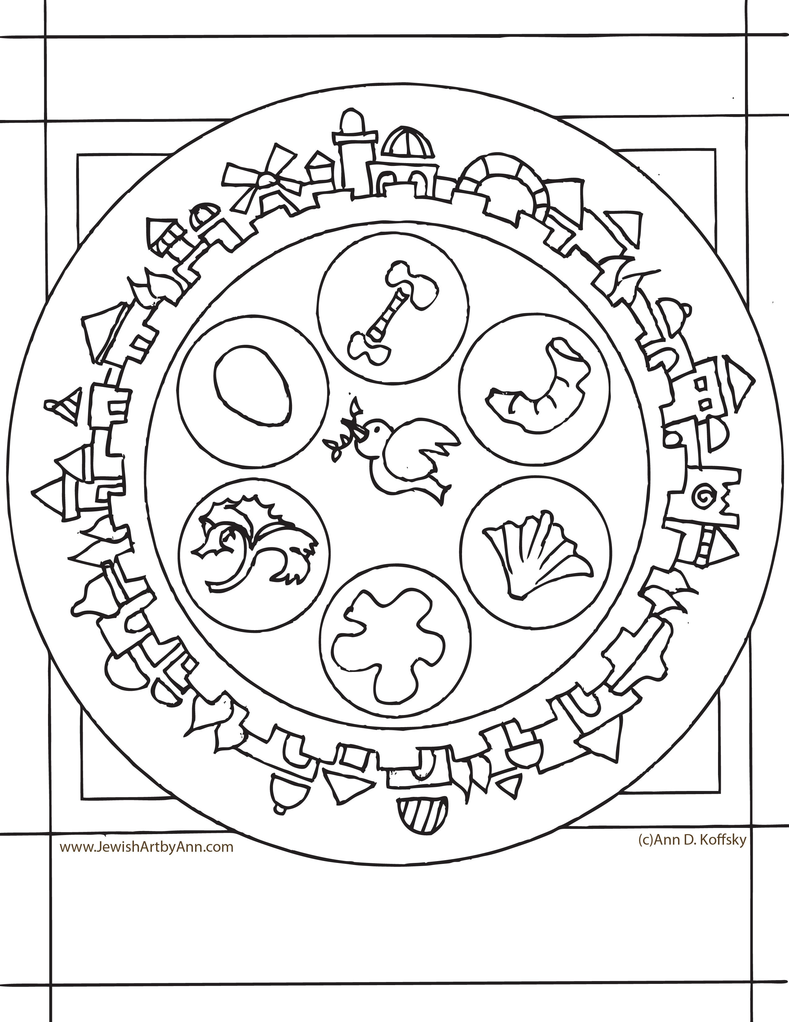 2546x3296 Ann Koffsky Passover Plate Coloring Page Passover