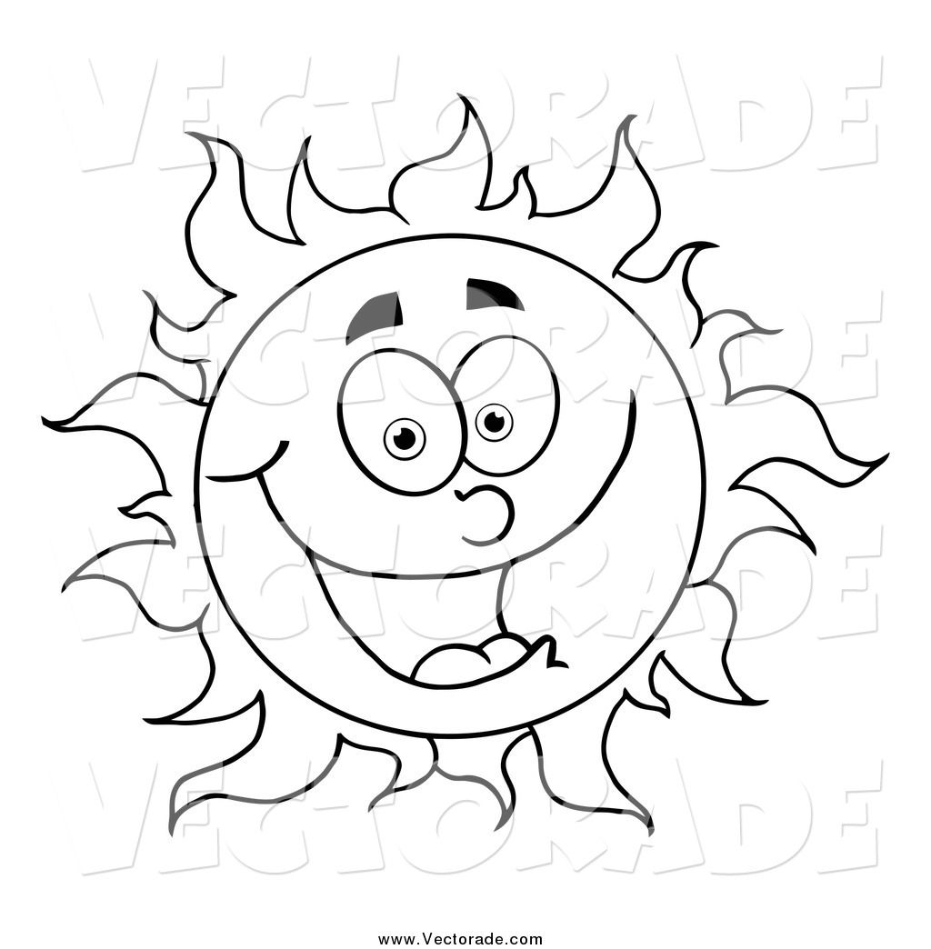1024x1044 Awesome Vector Of A Black And White Happy Sun