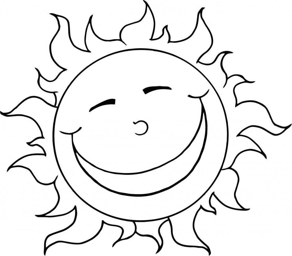 940x824 Happy Sun Coloring Page