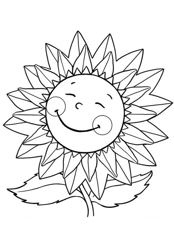 600x776 Happy Sunflower Coloring Page