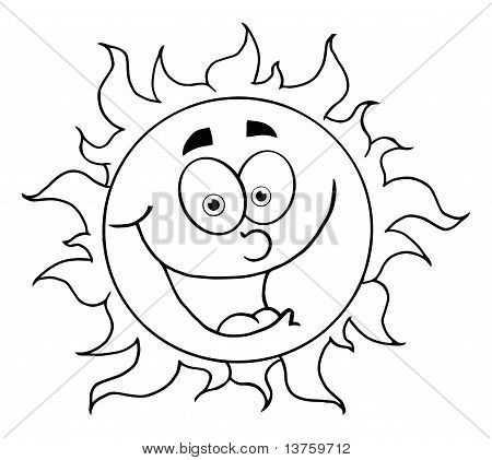 450x421 Picture Or Photo Of Black And White Happy Sun Mascot Cartoon