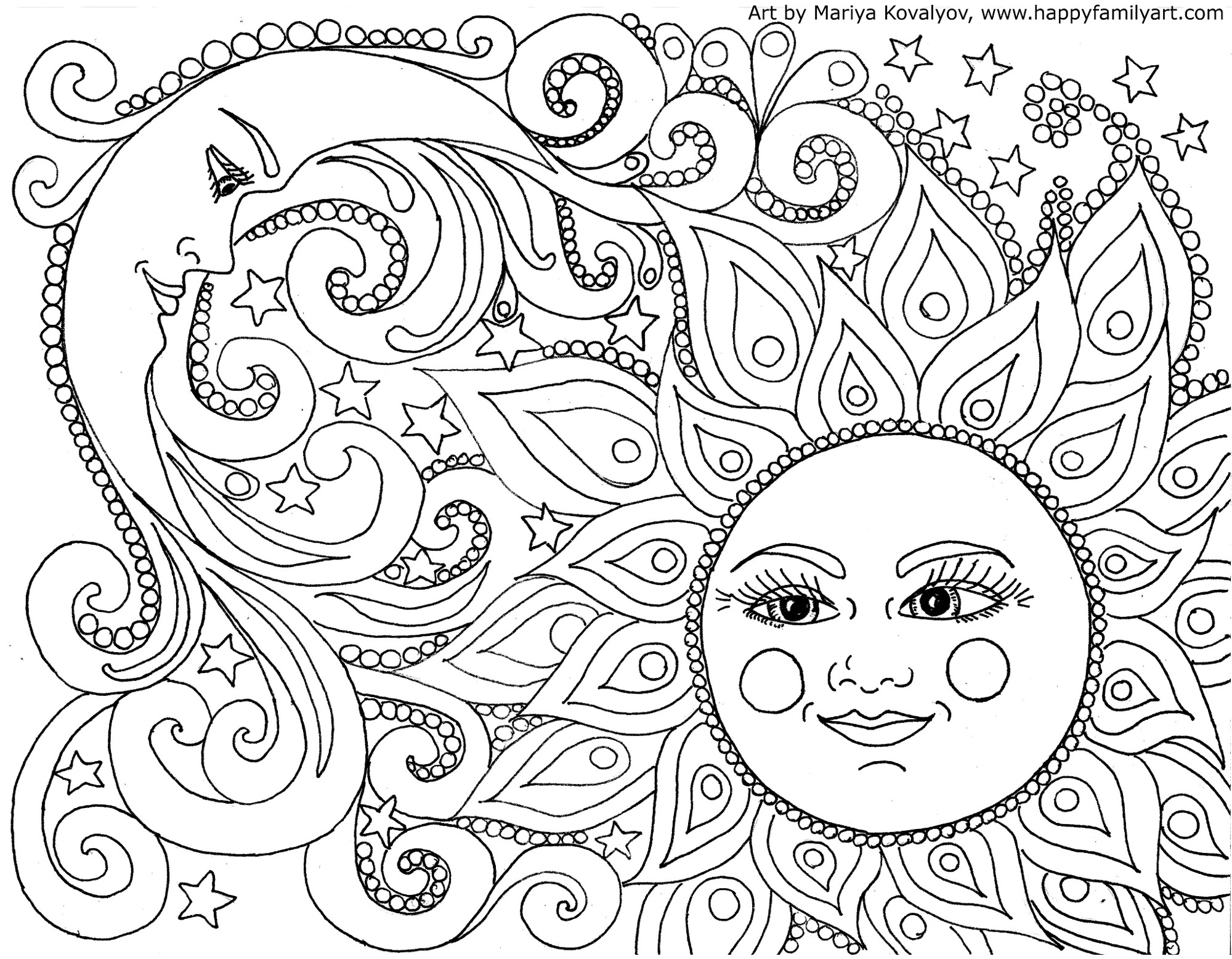 2000x1556 Sun And Moon Coloring Pages