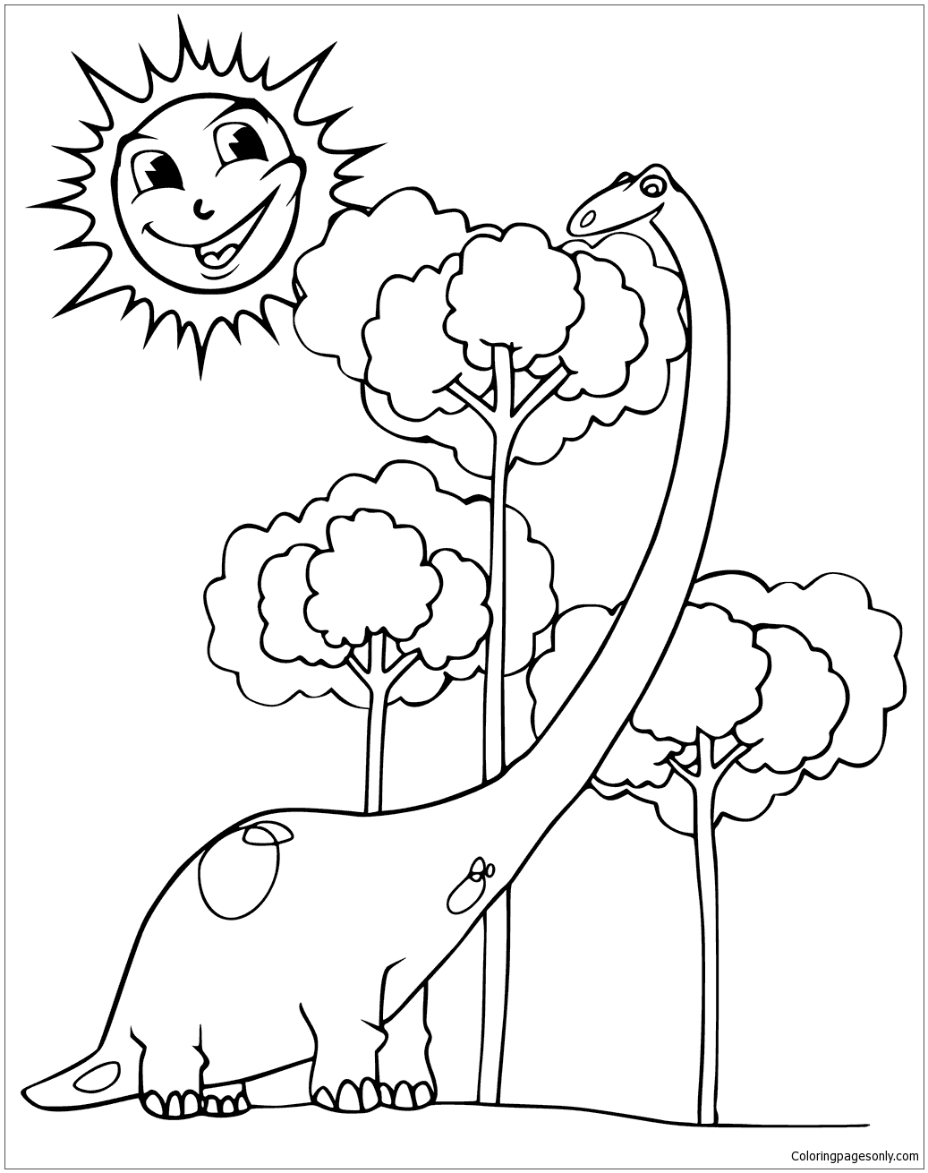 1037x1310 Happy Diplodocus And Smiling Sun Coloring Page