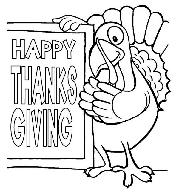 600x646 Happy Thanksgiving Day Says The Turkey Coloring Page