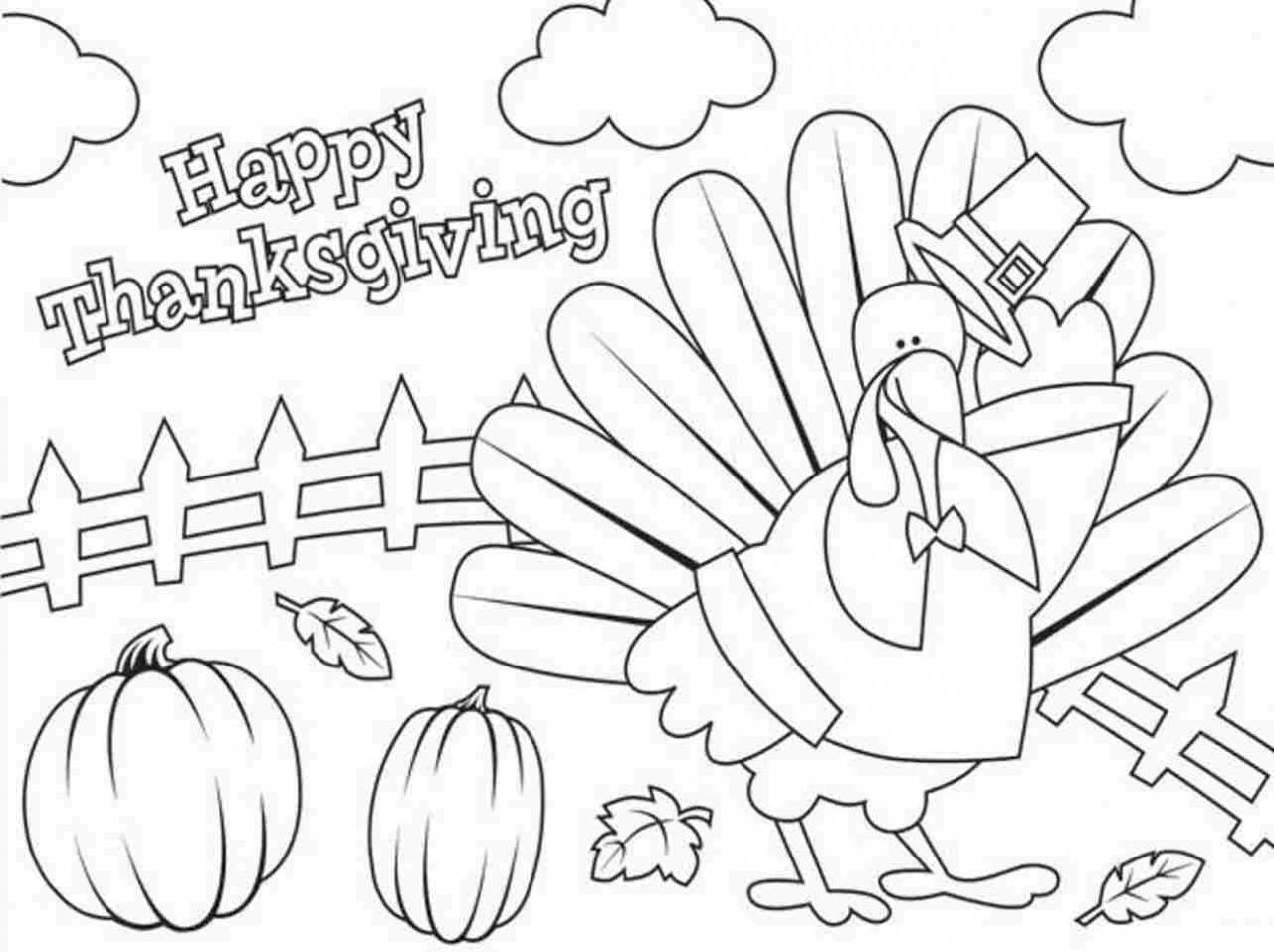 1280x957 Happy Thanksgiving Turkey Coloring Pages Acpra