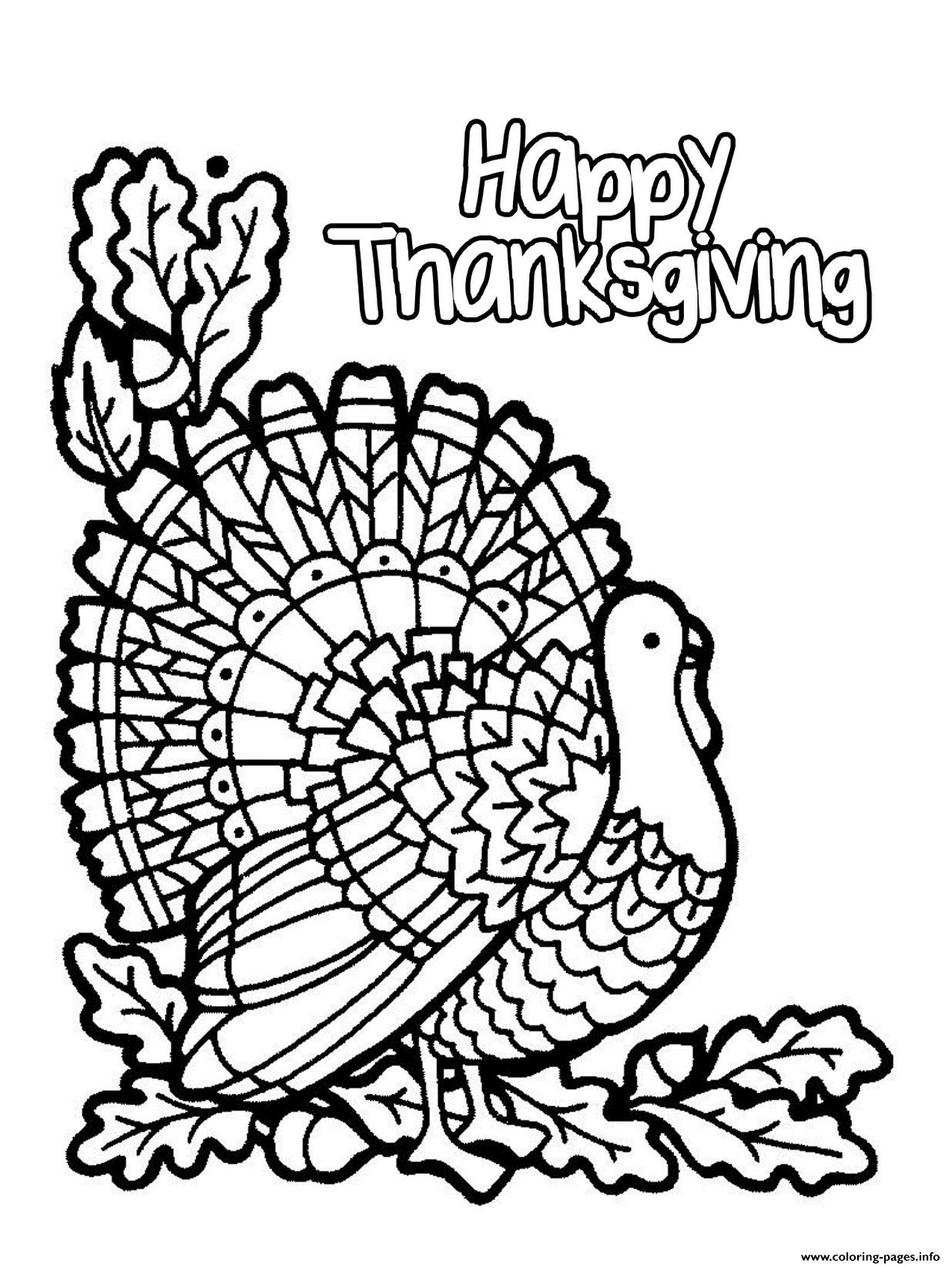 1236x1645 Happy Thanksgiving Turkey Coloring Pages Printable