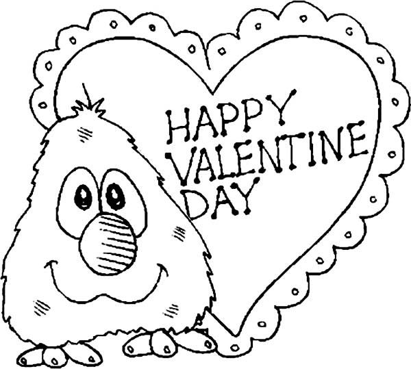 600x539 Little Elmo Say Happy Valentine's Day Folks Coloring Page