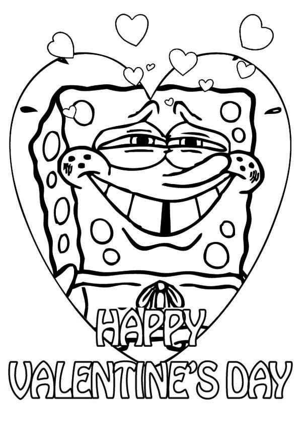 600x849 Spongebob Say Happy Valentine's Day Everyone Coloring Page Kids