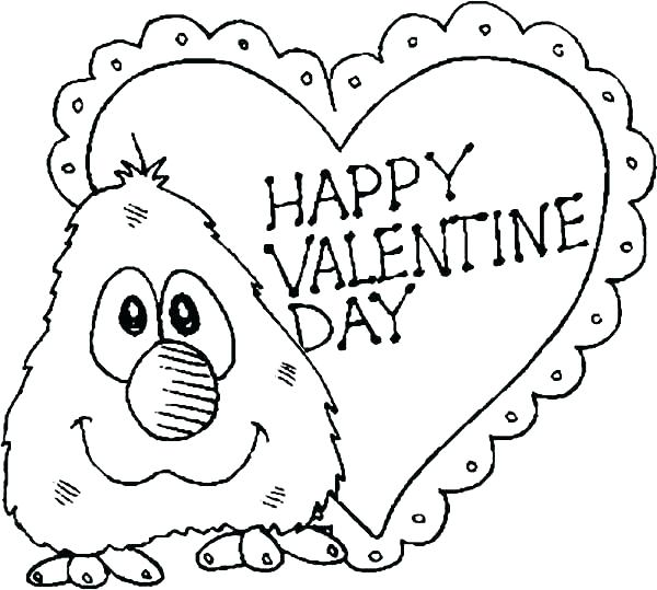 600x539 Valentines Color Page Printable Valentines Day Coloring Pages Be