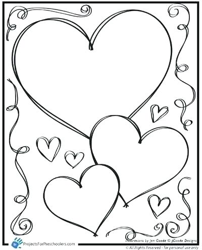 400x496 Valentine Hearts To Color Preschool Valentine Coloring Pages