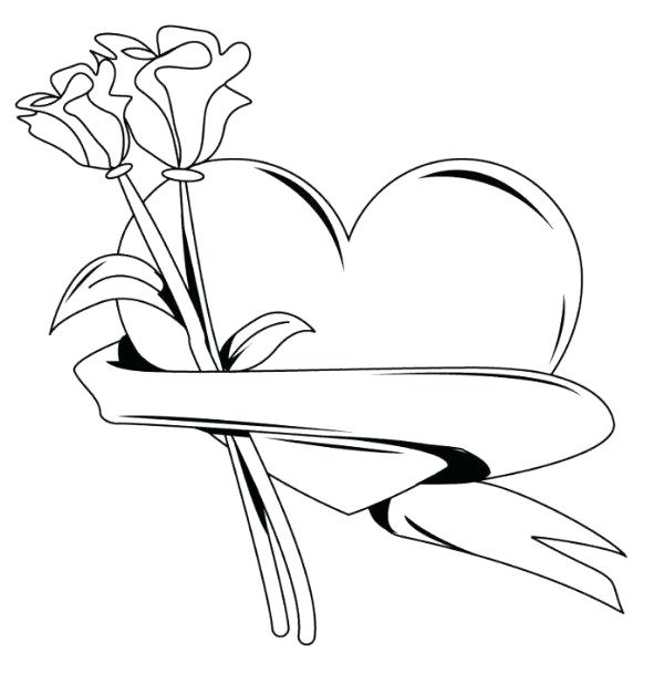 600x609 Valentines Hearts Coloring Pages Valentine Heart With Roses