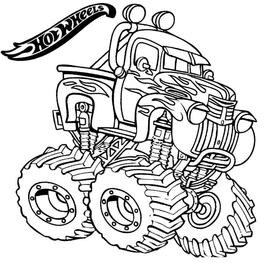 850x846 Monster Truck Hot Wheels Coloring Page