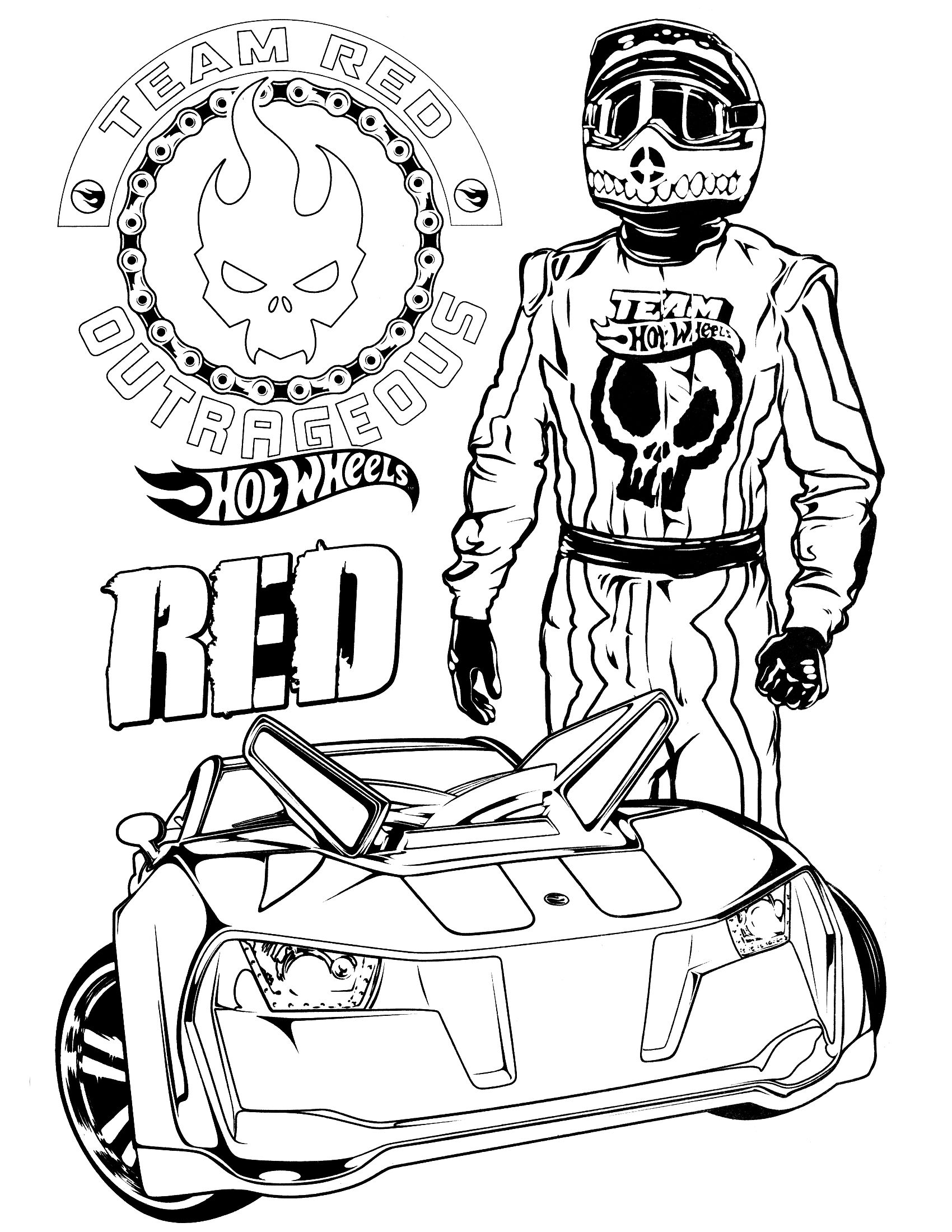 1700x2200 Team Hot Wheels Coloring Pages
