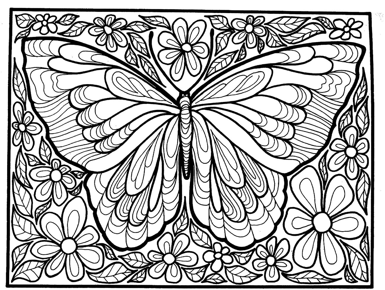 1300x979 Hard Butterfly Coloring Pages Printable Coloring For Kids
