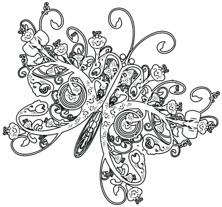 739x690 Luxury Butterfly Coloring Pages For Adults On Download Coloring