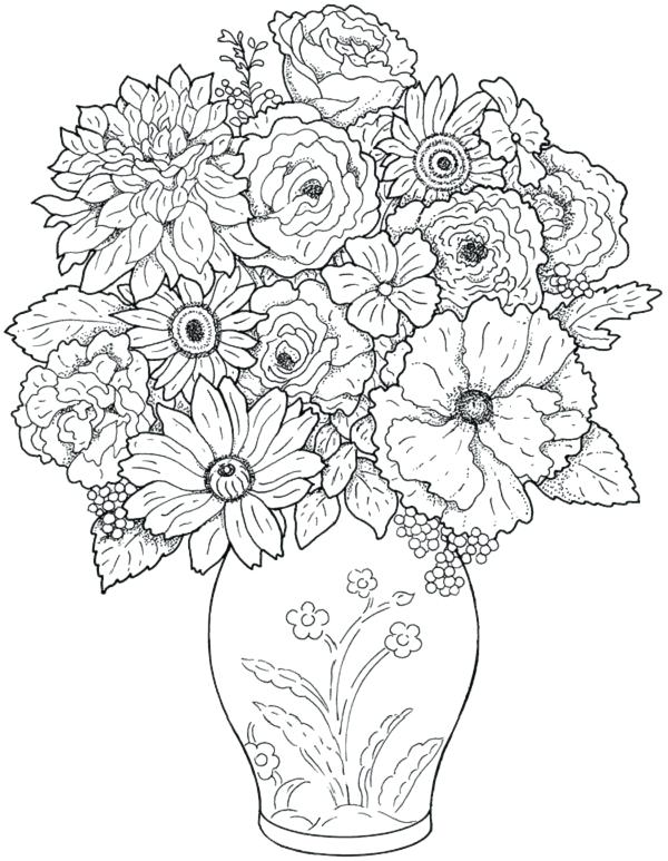 600x773 Flower Printable Coloring Pages Adults Printable Coloring Hard