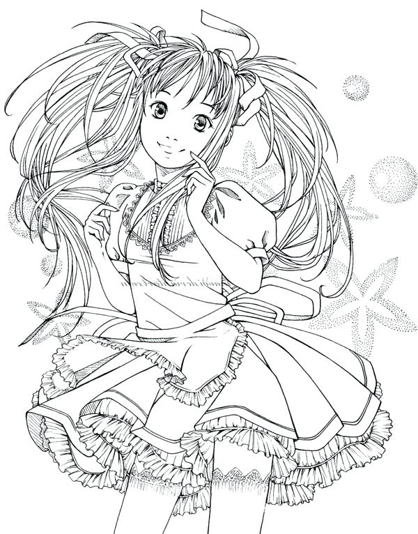 600x766 Kawaii Girl Colouring Pages Hard Coloring Pages Anime Girls People