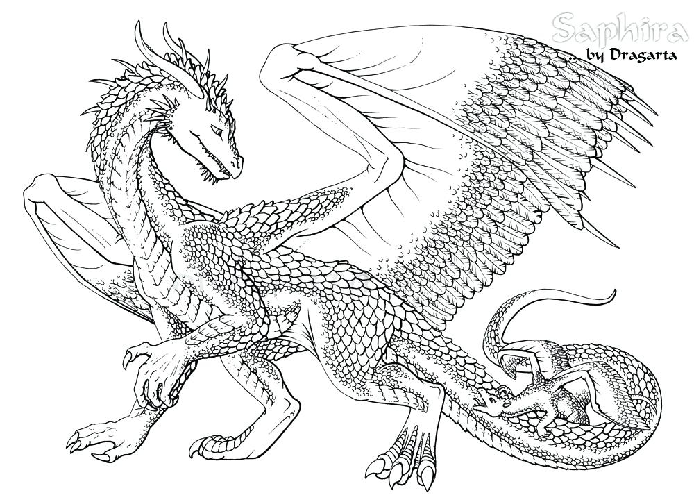 1000x723 Printable Dragon Coloring Pages For Adults Hard Dragon Coloring