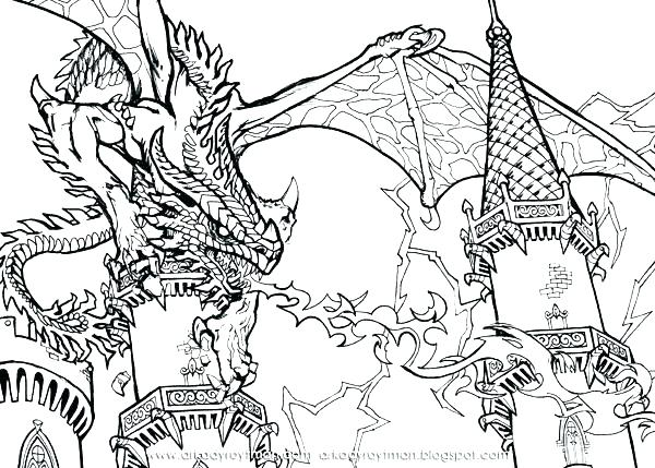 600x429 Dragon Coloring Page