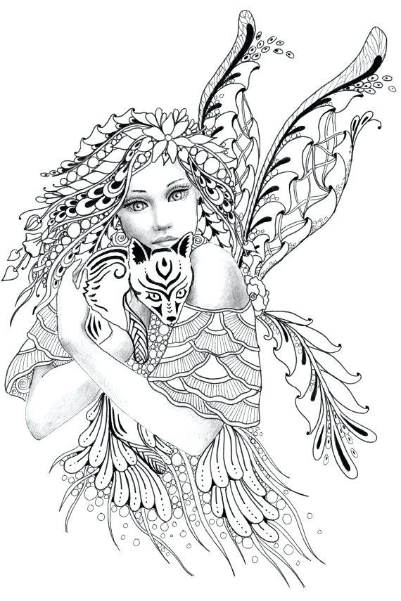 570x855 Fairy Coloring Pages For Adults Fantasy Coloring Pages Adult