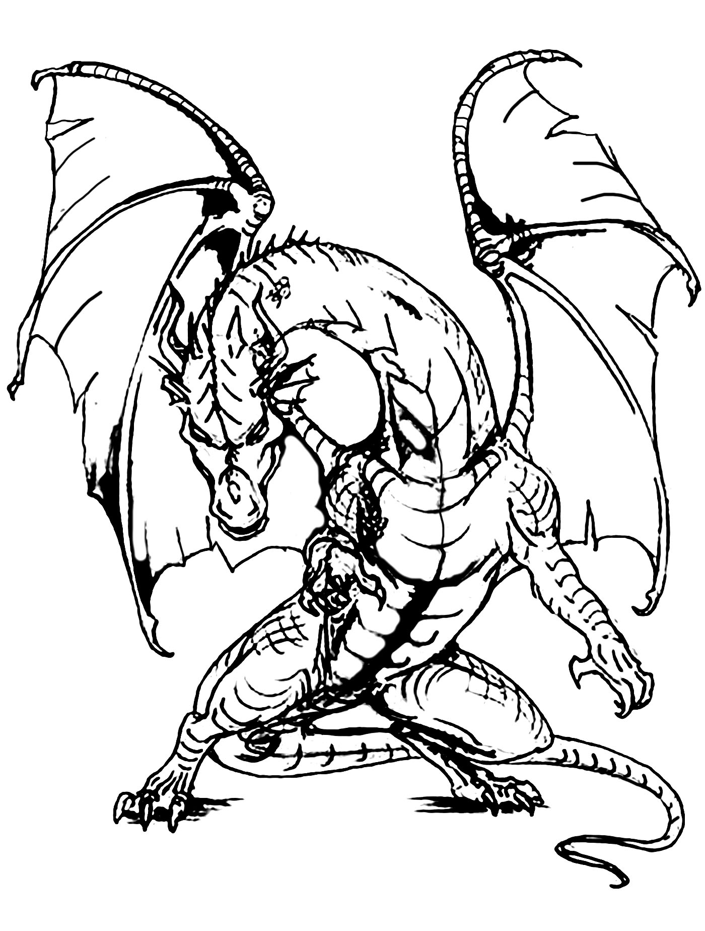 1400x1847 Hard Dragon Coloring Pages For Adults