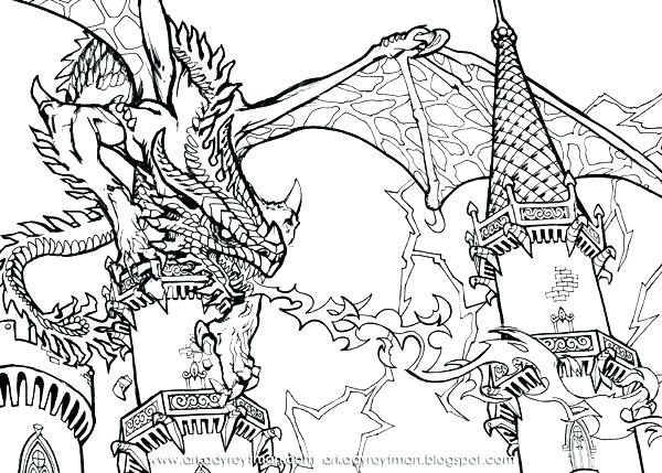 600x429 Dragon Art Coloring Pages Coloring Pages Of Dragons Scary Dragon