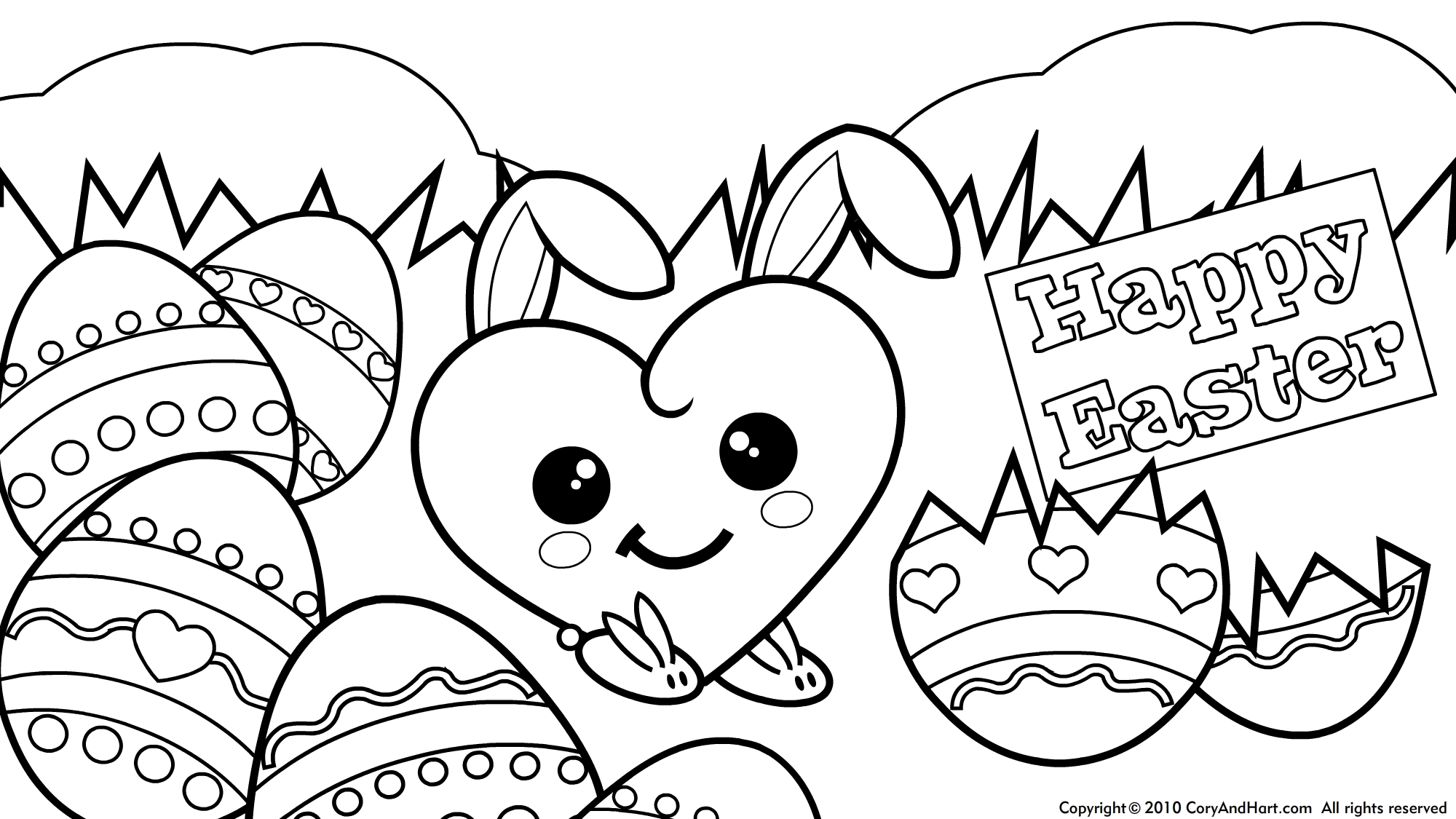 2000x1125 New Bunny And Egg Coloring Pages Easter Hiding