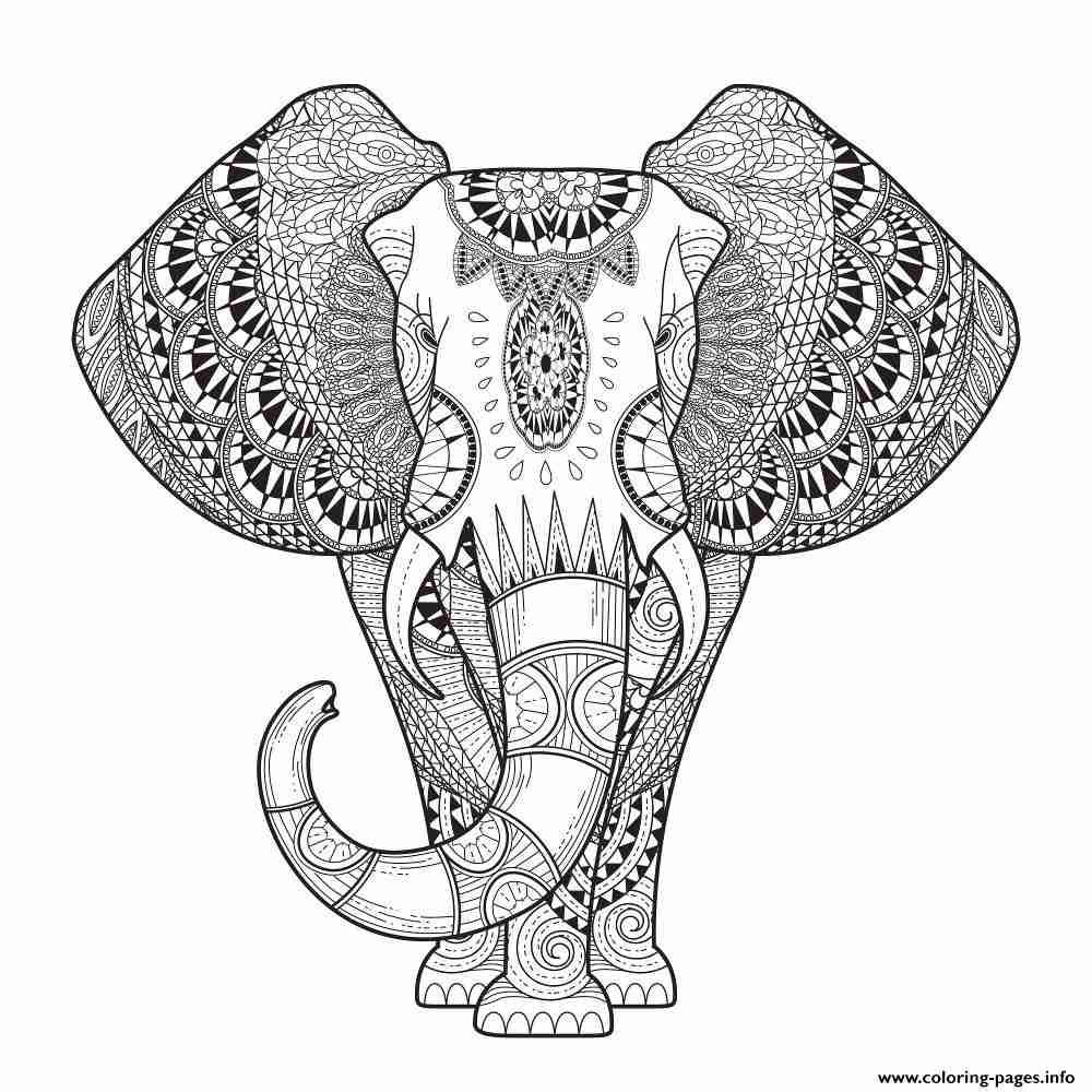 1000x1000 Print Elephant For Adult Hard Difficult Zen Anti Stress Animal