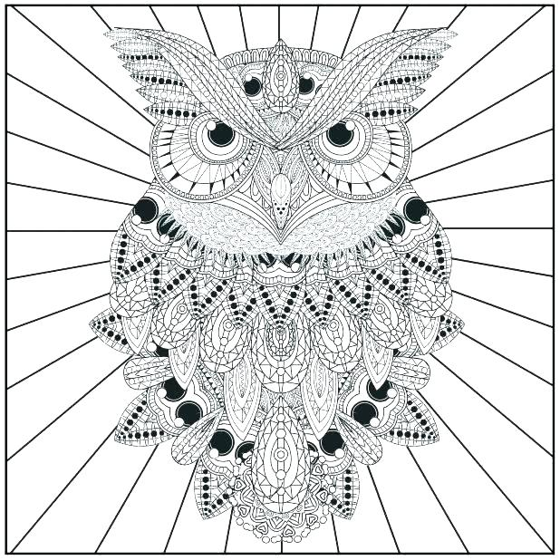 618x618 Hard Owl Coloring Pages Coloring Pages Of Owls For Adults Coloring