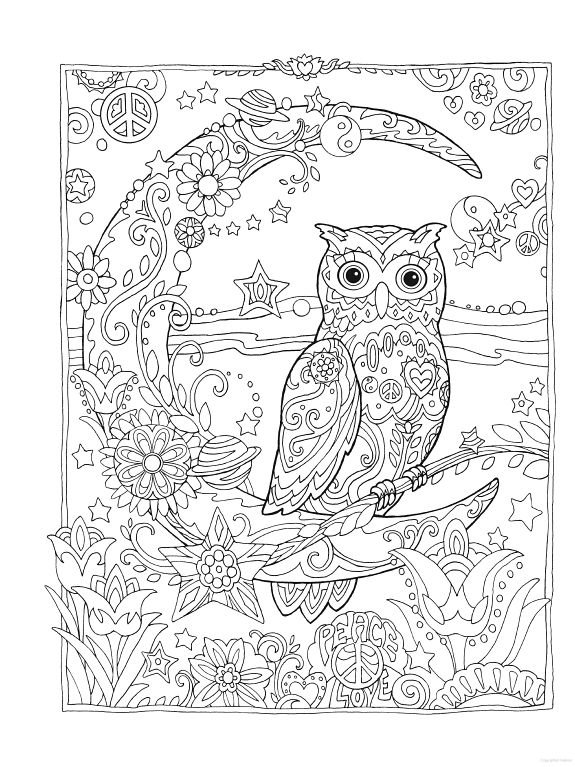 575x767 Owl Coloring Pages For Adults Free Detailed Owl Coloring Pages