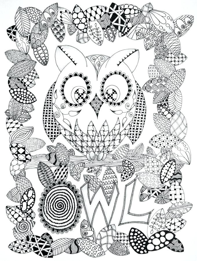 680x900 Hard Owl Coloring Pages Printable