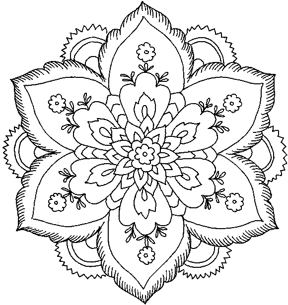 580x615 Difficult Flower Coloring Pages