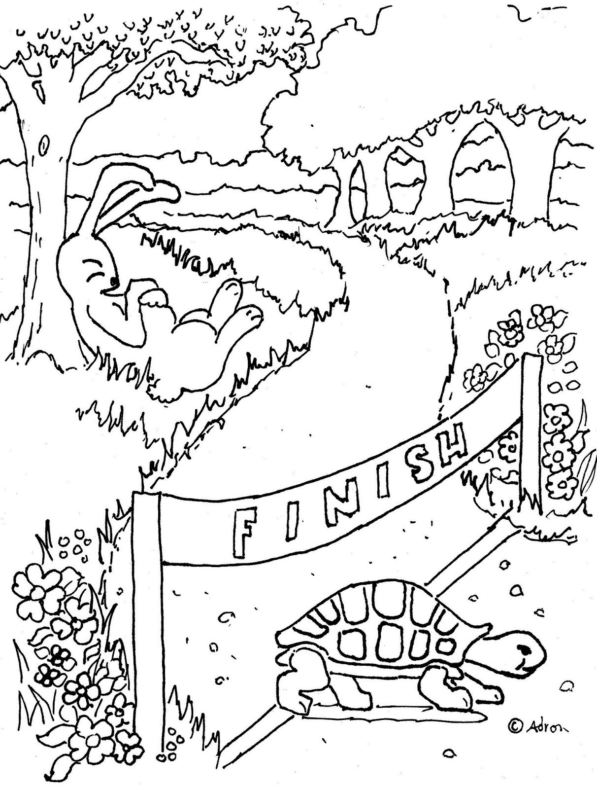 1212x1600 Tortoise And The Hare Coloring Pages