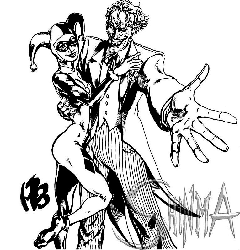 765x796 The Batman A Superb Joker And Harley Quinn Coloring Pages