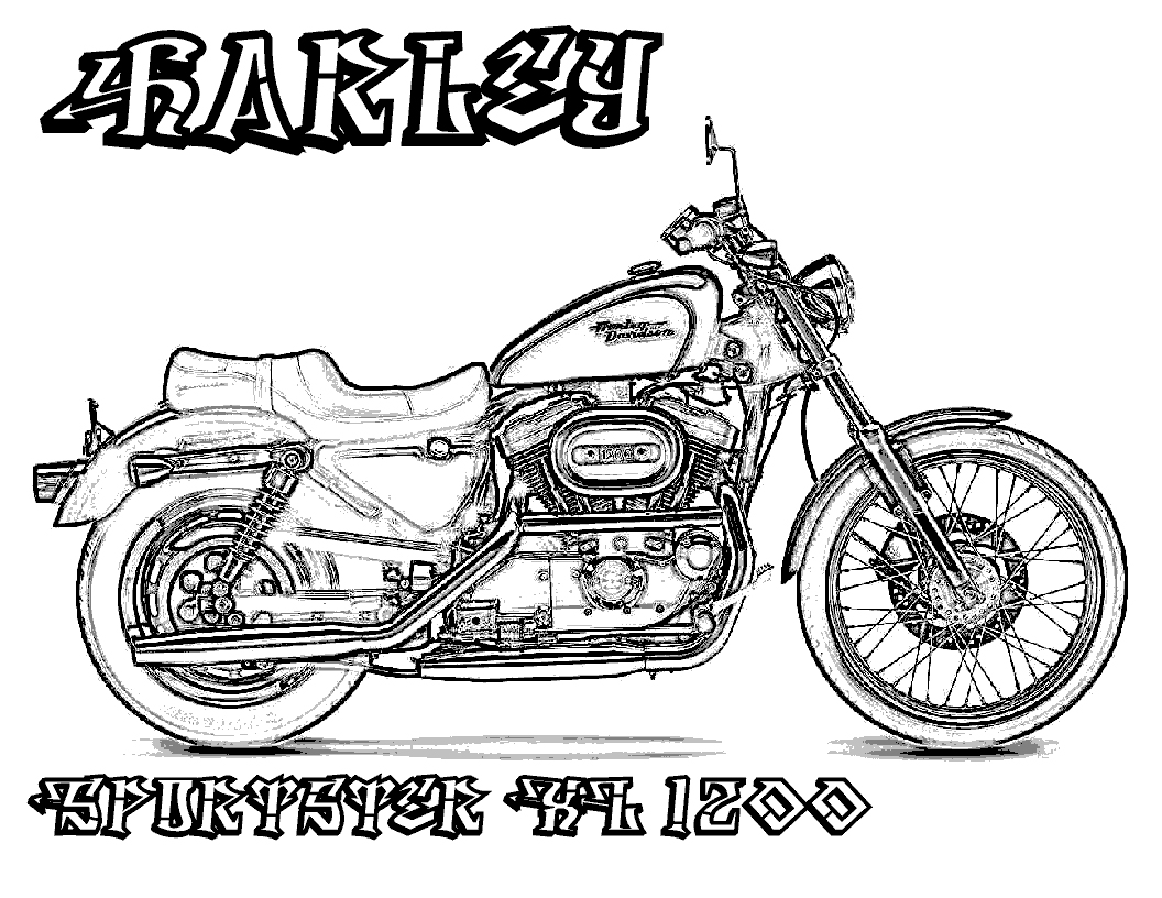 1056x816 Harley Davidson Coloring Pages